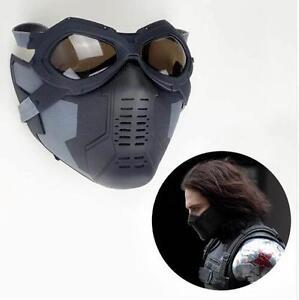 Details about Captain America 3 Winter Soldier Buck Mask+Glass Buchanan/  Barnes Helmet Cosplay