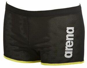 Arena-Drag-Shorts-Square-Cut-Design-Swimming-Water-Resistance-Training-Black