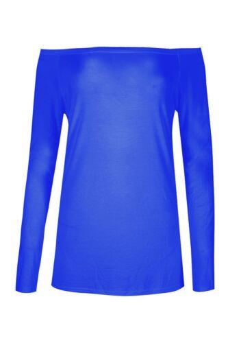 Damen vom Schulter Bardot Top Damen weiches langärmlig einfarbig Trikot T-Shirt