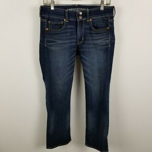 American-Eagle-Super-Stretch-Artist-Crop-Womens-Dark-Wash-Blue-Jeans-Size-6