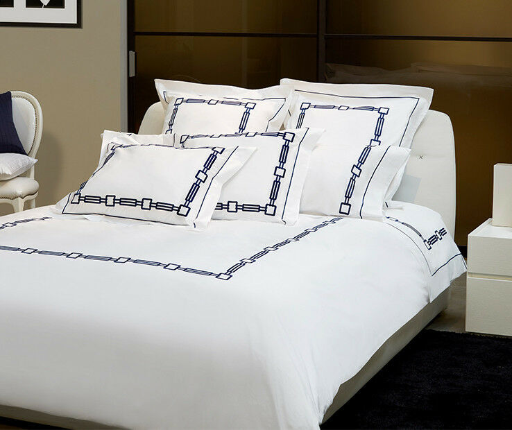 Signoria Firenze Retro Queen Duvet Cover - White Dark blueee