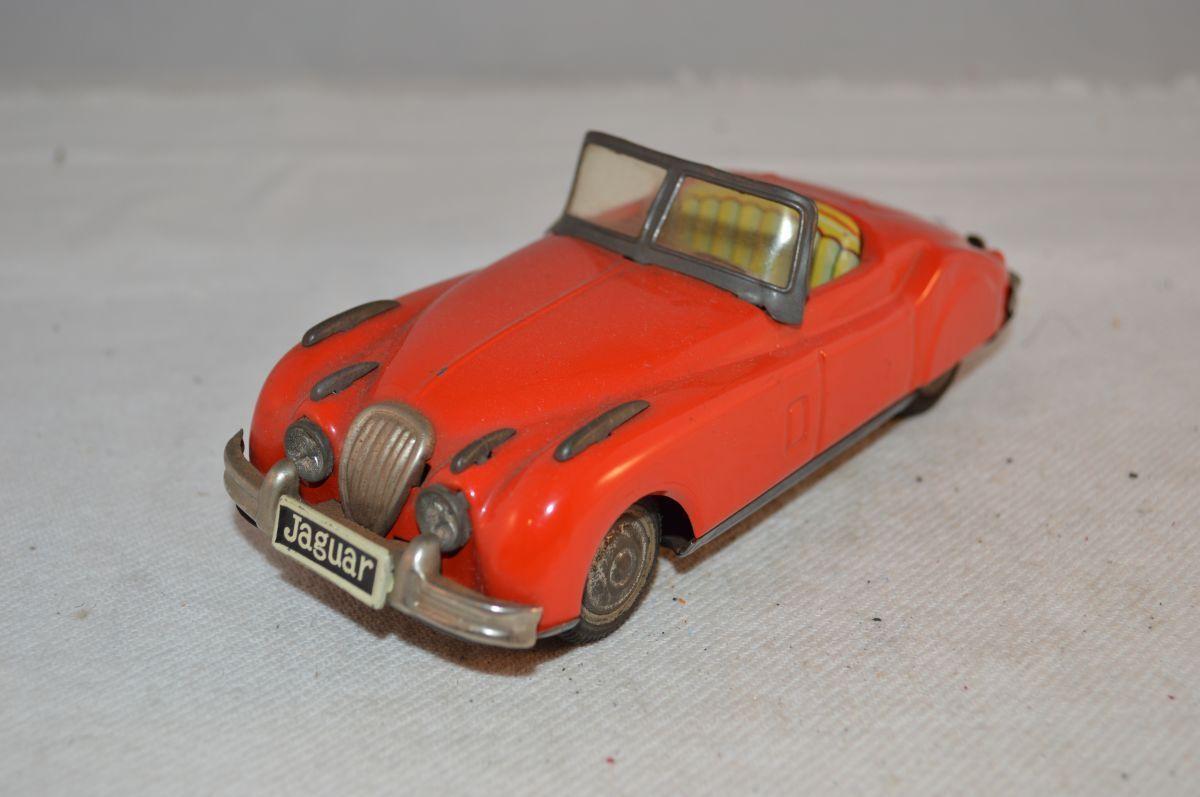 Jaguar M 6158 Tinplate röd bil Tin Litho japan Friktion sällsynt att hitta