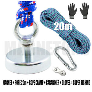 Magnet-METAL-DETECTOR-Recovery-TREASURE-FINDER-FERRITE-Fishing-98kg-ROPE-20m