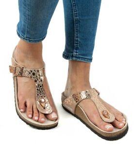 Copper Gizeh Birko Flor Metallic Stone Sandal