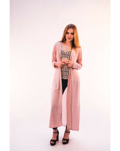 Lady fine knit long oversize cardigan with chiffon back design black wine pink