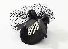 Black Skeleton Mini Hat Hair Clip Gothic Victorian Burlesque Cosplay