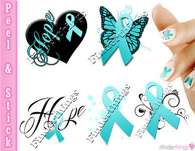 Ovarian Cancer Cervical Cancer Teal Ribbon Support Nail Art Decalstickers Rib906 Ebay