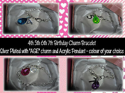 Girls Silver Plated Charm Bracelet 4th 5th 6th 7th Birthday Gift Pendant Charm