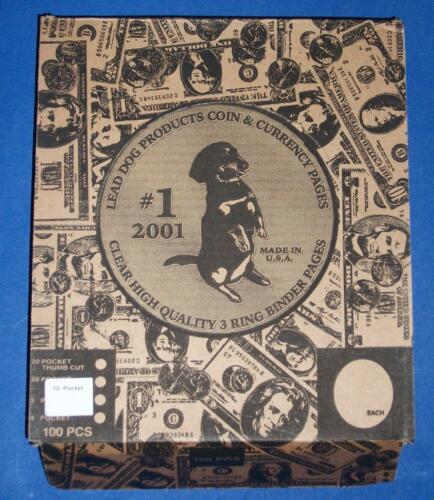 Lot of 50 Lead Dog Twelve 12 Pocket Heavy Duty Binder Pages 2.5 X 2.5 coin flips