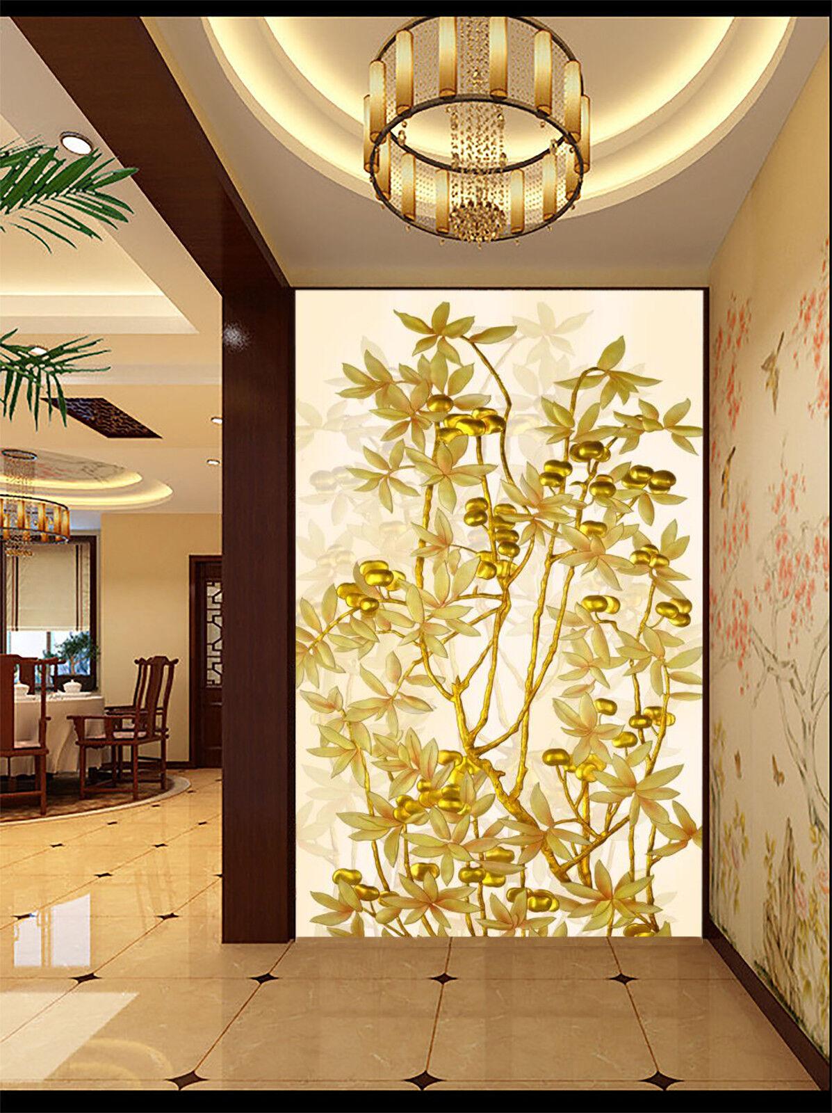 3D Golden Flower 744 Wallpaper Mural Wall Print Wall Wallpaper Murals US Carly