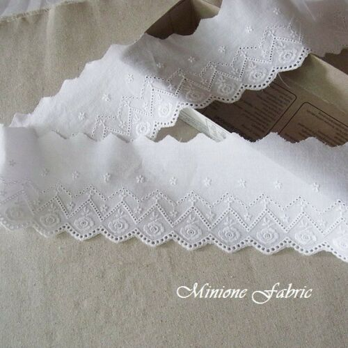 8.2cm 3Yards Cotton Fabric Eyelet Lace Trim 3.2 Inch Flowers White doll dress