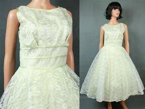 50s Prom Dress S Vintage White Pale Green Lace Tea Length Party ...
