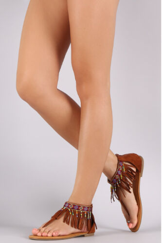 SARAH SIAH Chestnut Suede Embroidered Fringe Cuff T-Strap Flat Sandal