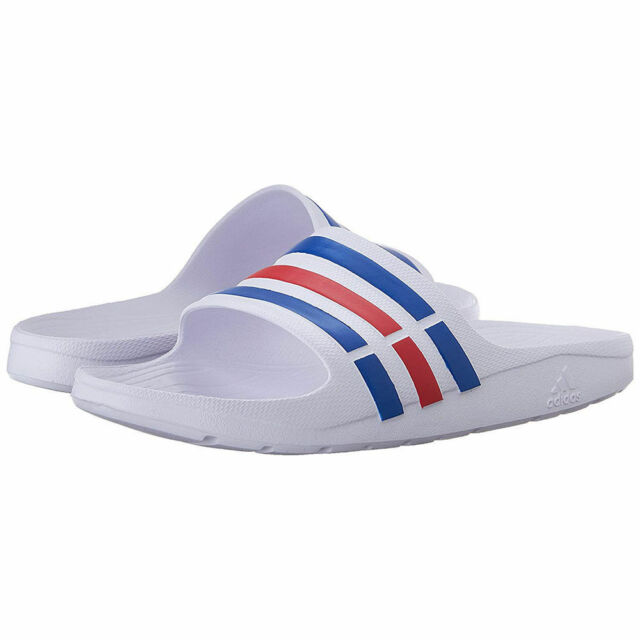 f4ce5d33a BRAND NEW Adidas Duramo Slide White Power Blue Red Men s Sandals Shower  Shoes