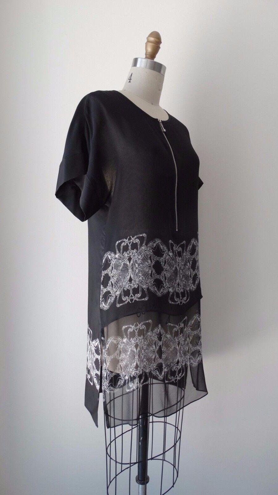 Mini Vestido Thomas Wylde  Negro Seda impreso estilo Túnica De Manga Corta Talle Xs  exclusivo