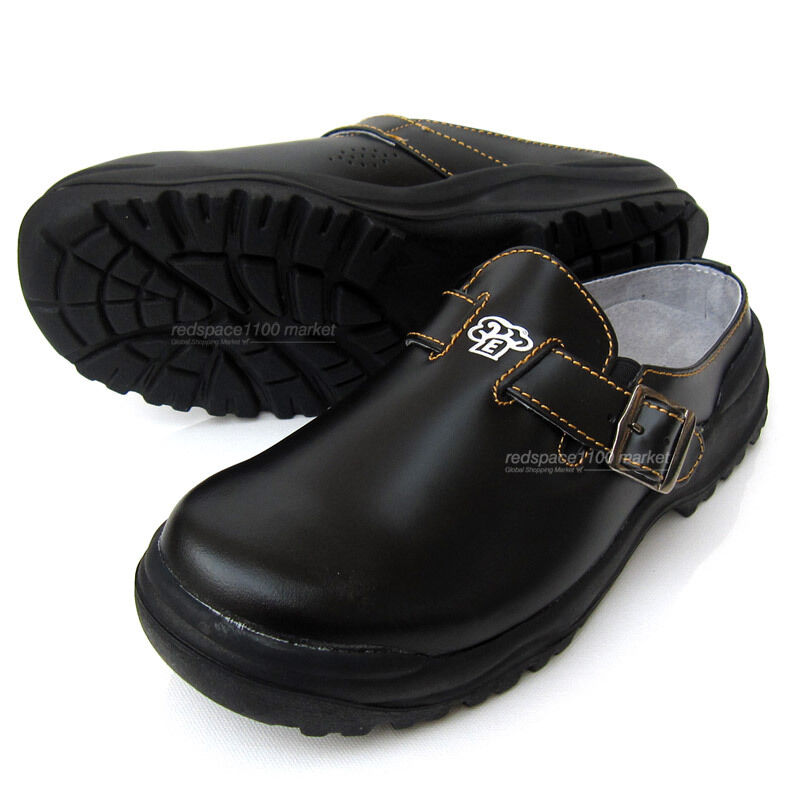 Men Chef shoes Cowhide Leather Kitchen Safety shoes Cook Oil Resistant