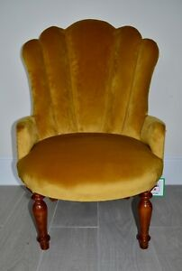 Image Is Loading Art Deco Style Fan Shell Chair In Antique