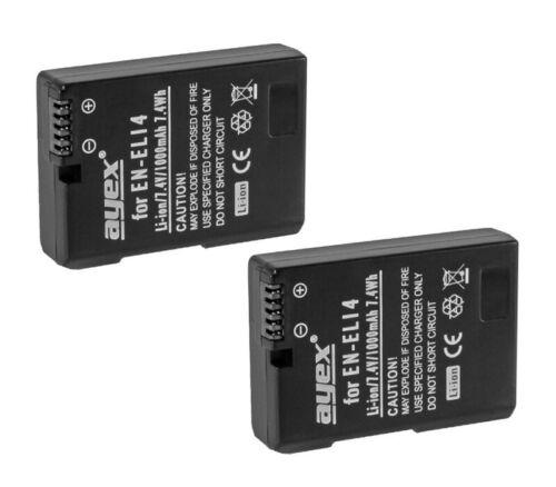 d3100 2 x ayex ® en-el14 Li-ion batería para Nikon p7700 d3200 p7100 p7000 d5100