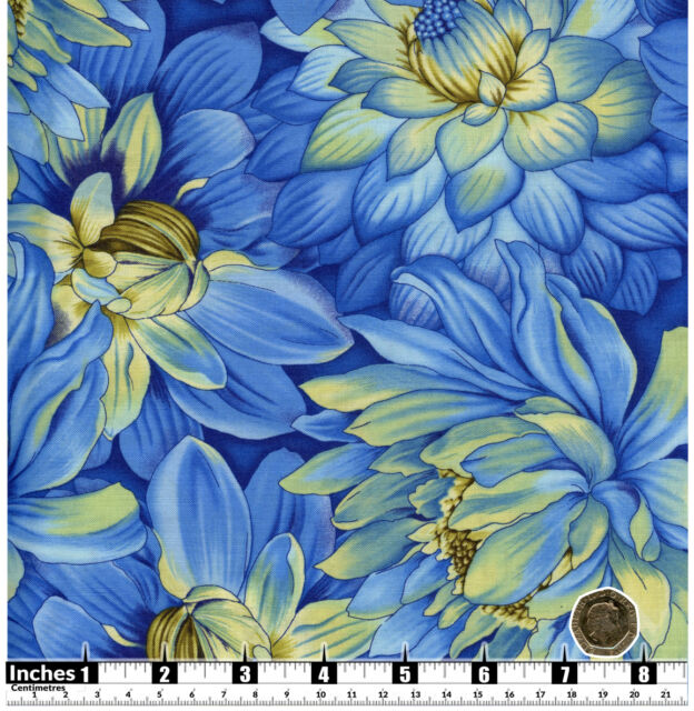 Quilting Fabric Blue Yellow Chrysanthemum Flowers 100% Cotton Fat Quarter