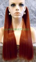 18 Red/brown Flip In Secret Clear Wire Hair Piece Extensions No Clip In/on