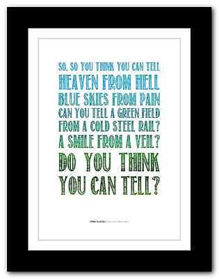 PINK FLOYD Wish You Were Here ❤ song lyrics typography poster art print #54  | eBay