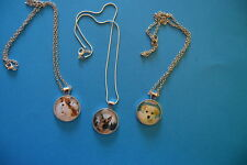 DOGS Lot of 3 Cabochon PENDANTS NECKLACES  New! GERMAN SHEPHERD Jewelry USA SALE