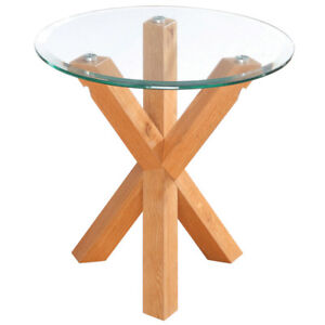 Details About Solid Oak Glass End Lamp Small Round Side Table
