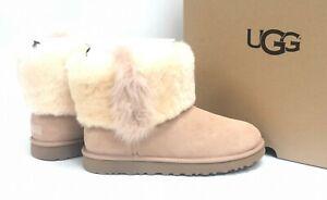 ed593e45d1e Details about UGG Australia Classic Mini Wisp Cuff Black Suede Sheepskin  Boots Arroyo 1101039