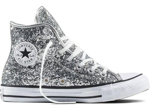 Bianche Scarpe Star All Glitter Originali Argento Converse 556817c Silver Alte Hv7OOq