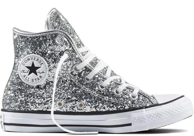 ORIGINALI CONVERSE ALL STAR ALTE GLITTER ARGENTO SILVER BIANCHE 556817C  scarpe c90d795df6d