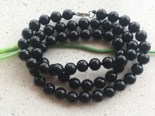"""22/"""" NOUVEAU 8 MM ROUND Black Onyx Gemstone Bead collier Magnifique collier"""