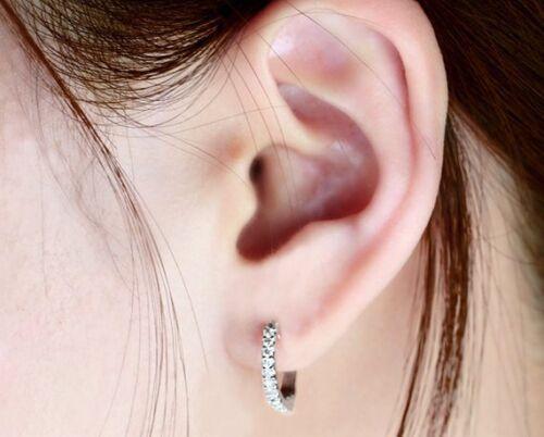 Details about  /0.30ct Round White Diamond VVS1//D Hoop Huggie Earrings 14K White Gold FN