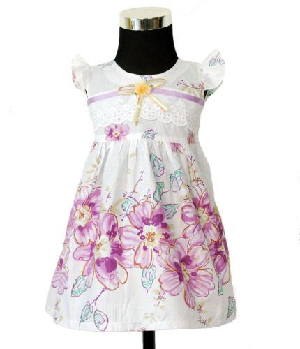 Bébé Fille en Coton Fleuri Robe de soirée rose lilas en 0 3 6 9 mois
