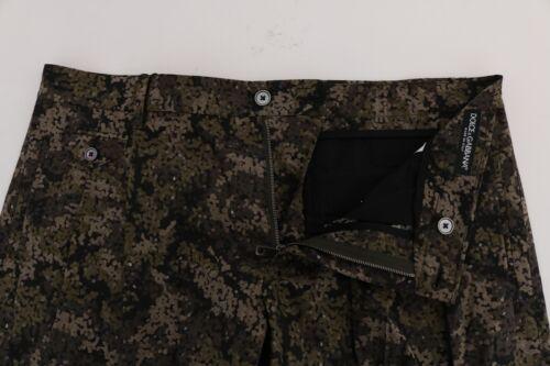 NEW $560 DOLCE /& GABBANA Shorts Black Green Cotton Military Pattern IT60 W46