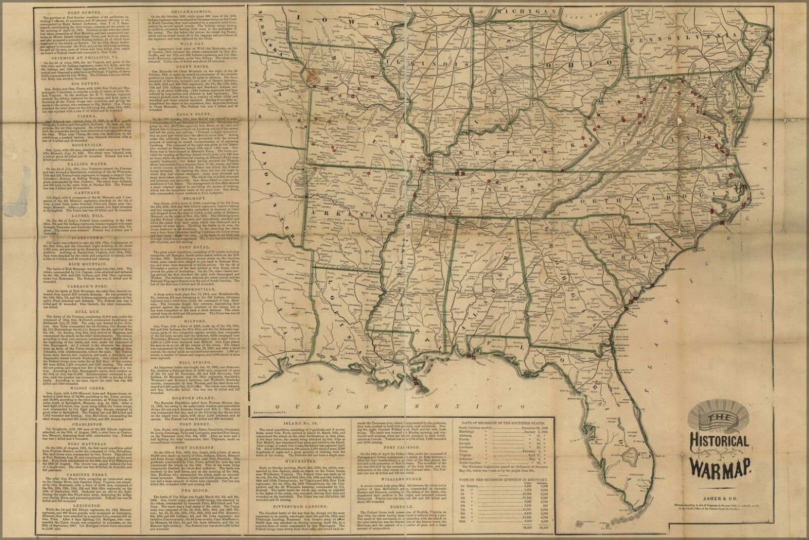Plakat, Viele Größen; Bürgerkrieg Karte Süd Vereinigte Staaten Of America 1862