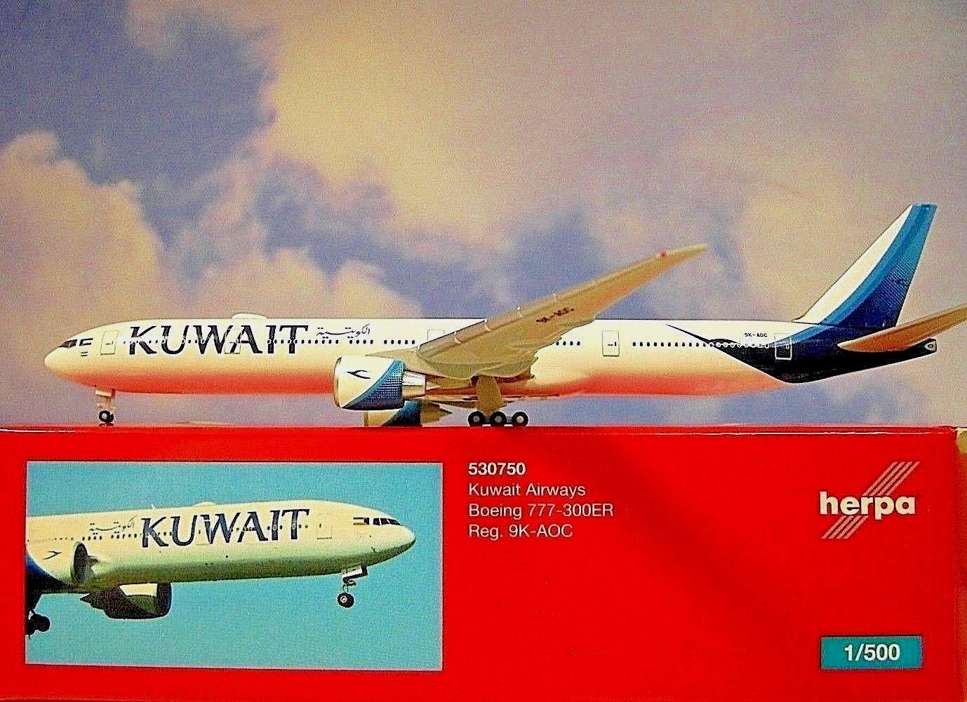 Herpa Wings 1 1 1 500 Boeing 777-300ER Kuwait Airways 9K-AOC 530750 Modellairport500 b441e4