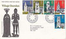 GB :1972 Village Churches  set on illustrated FDC- BUREAU cancel