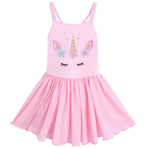 Toddler Kids Girls Unicorn Ballet Dance Wear Dress Gymnastics Tutu Skirt Costume