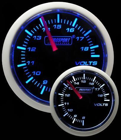 Prosport 52mm Super Smoked Blue White DC Volts 8-18v Gauge