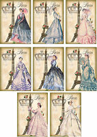 Vintage inspired Eiffel Tower Paris ball gowns scrapbooking card s/8 envelope