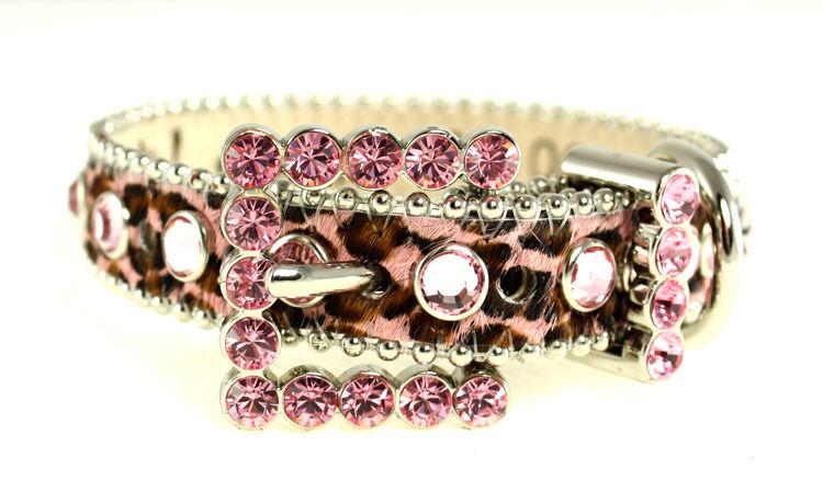 BB Simon Pink Animal Print Leather Dog Collar XLarge