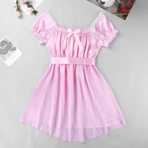 Mens Shiny Satin Robe Sleepwear Sissy Silky Bathrobe Nightgown Pajamas Lingerie