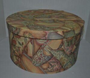 Details About Round Hat Box Victorian Shoe Pattern Print Storage Or  Decoration