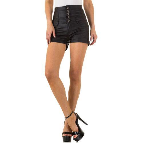 Damen Lederoptik Hot Pants Shorts 9442 Ital-design