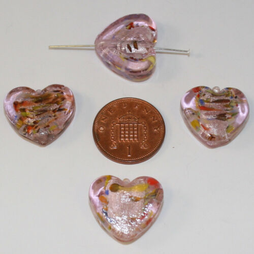 4 Pink//Light Blue//Dark Purple Czech Glass Heart Beads; Size 17.5 x 20 x 6.5mm