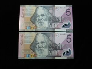 Australia-Macfarlane-Evans-2001-5-Banknote-Consecutive-Pair-UNC-BB10