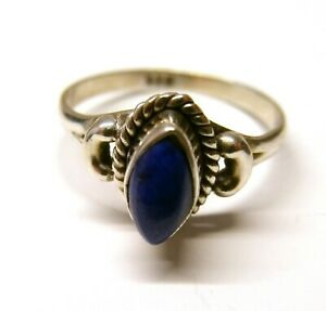 Handmade 92.5 Sterling SILVER Trinket Box blue lapiz lazuli stone marquise shape