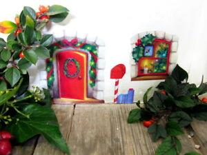 Natale-Fata-Porta-Adesivo-Muro-Adesivo-Elfi-Elfo-OFFICINA-CASA-Avvento