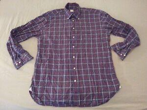 Mens Peter Millar Plaid Dress Shirt L Large Purple Cotton Long Button