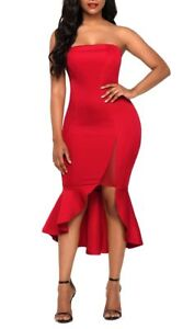 Red-Bandeau-Strapless-Ruffle-Stretch-Fitted-Bodycon-Dress-With-Sheer-Mesh-Split